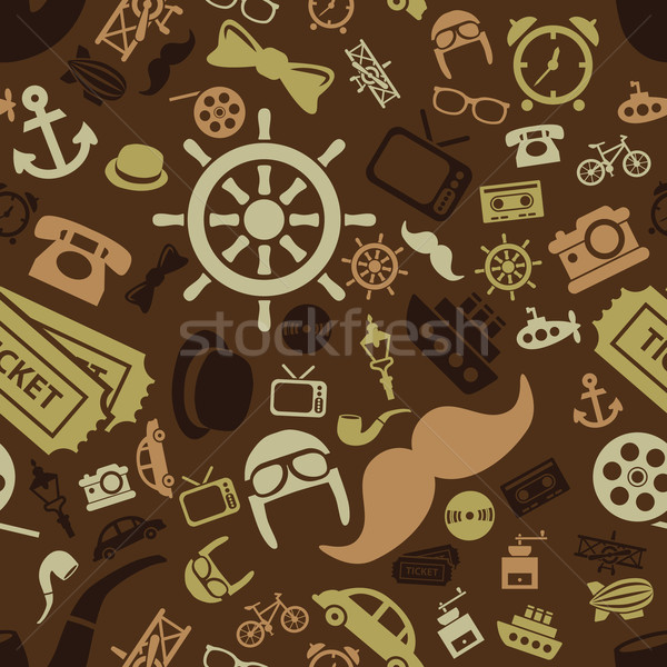 vintage objects seamless pattern Stock photo © glorcza