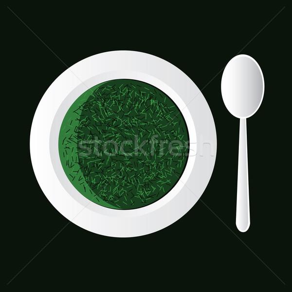 Spinazie soep witte kom lepel gezondheid Stockfoto © glorcza