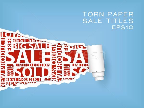 Szakadt papír kék piros vásár papír absztrakt Stock fotó © glorcza