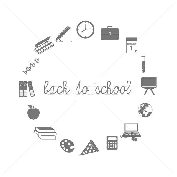 back to school icons in circle Stock photo © glorcza