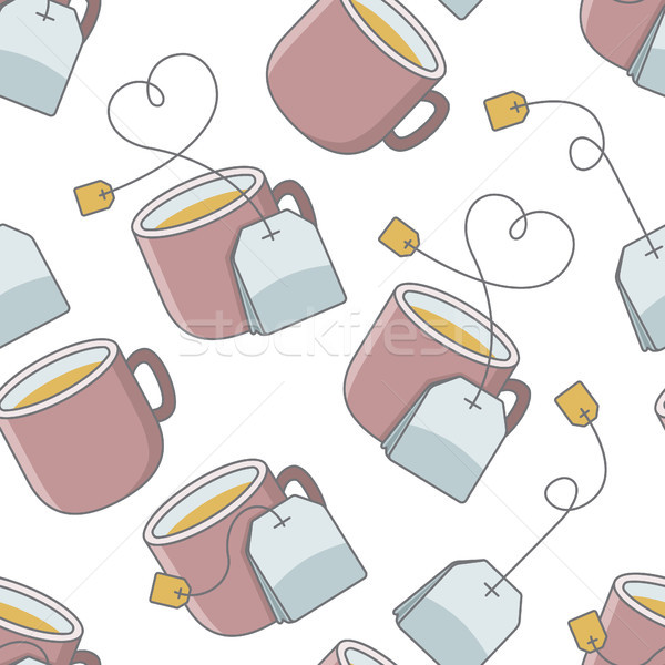 seamless pattern with cup of tea and bag Stock photo © glorcza