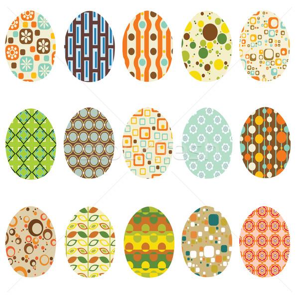 Ovos de páscoa abstrato ovo verde vintage padrão Foto stock © glorcza