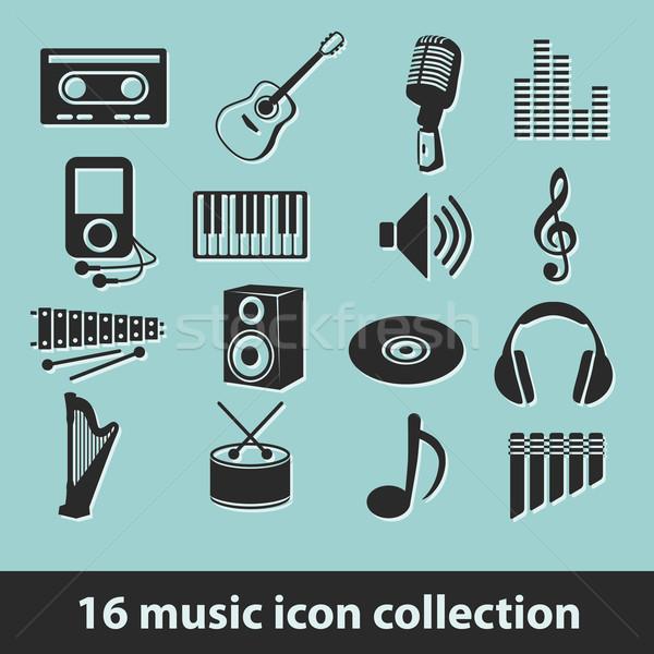 16 music icon collection Stock photo © glorcza