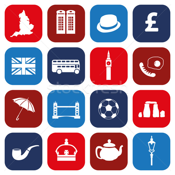 Anglia ikonok térkép terv telefon tojás Stock fotó © glorcza