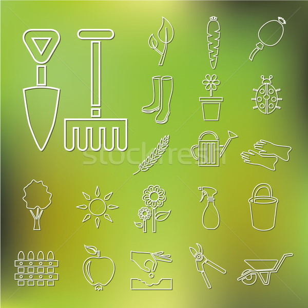 outline garden icons Stock photo © glorcza