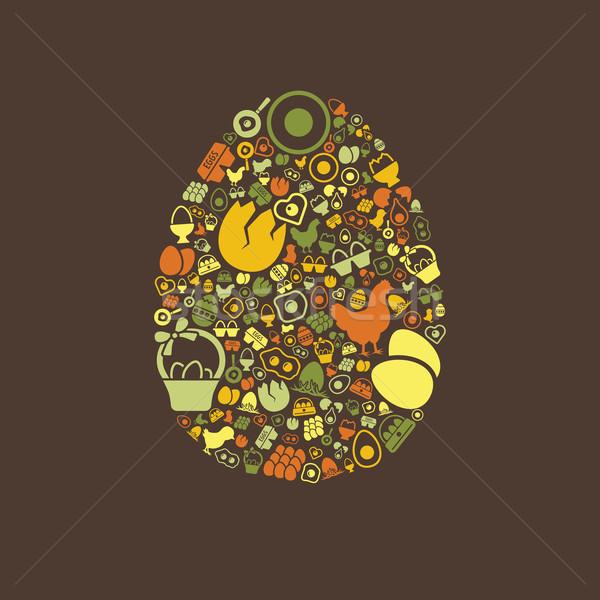 Foto stock: Ovo · ícones · primavera · comida · amor · feliz
