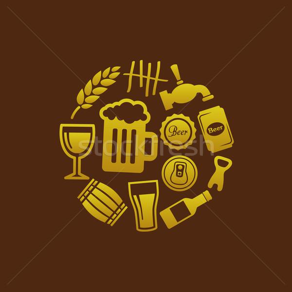 Stockfoto: Bier · iconen · cirkel · glas · teken · fles
