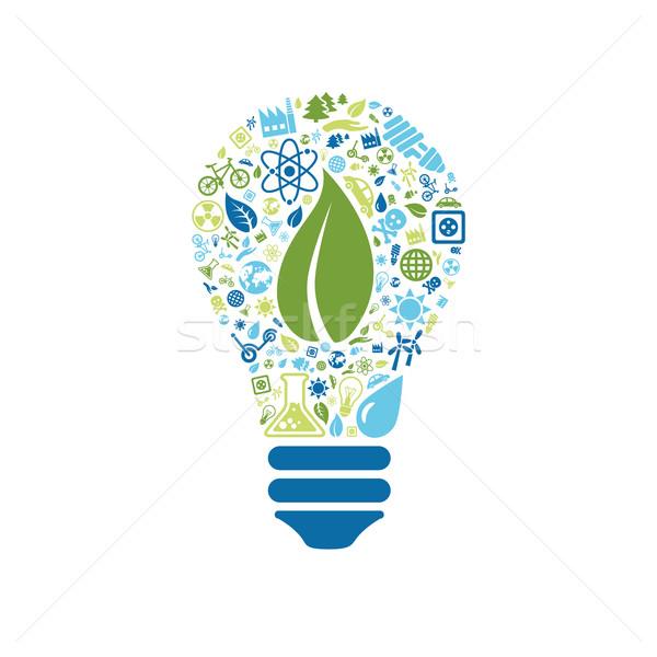 Photo stock: écologie · icônes · ampoule · voiture · arbre · soleil