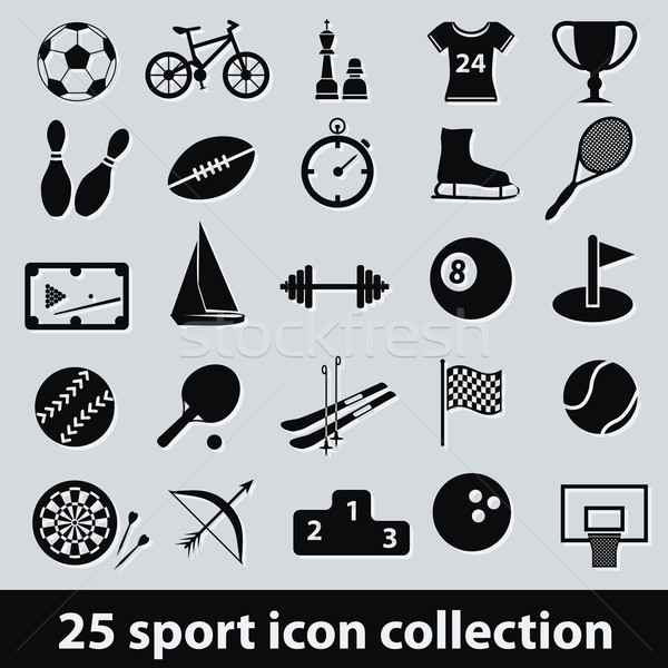 Sport iconen 25 icon collectie basketbal Stockfoto © glorcza