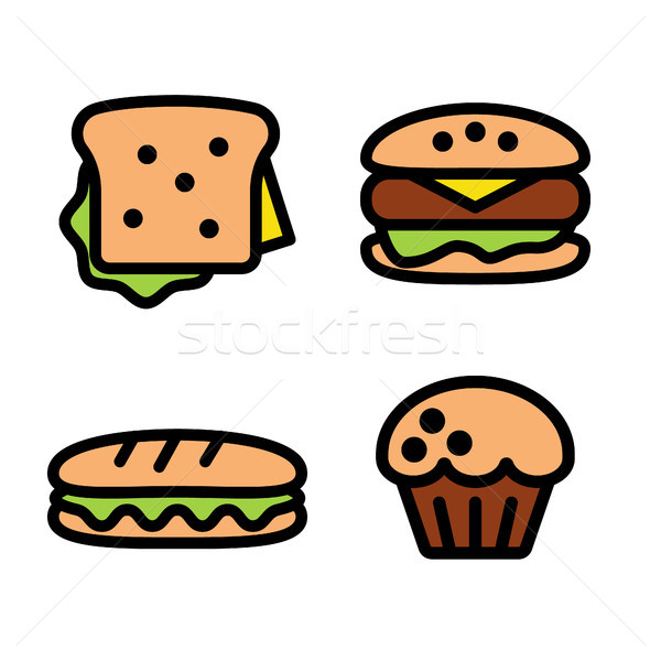 sandwich, hamburger, baguette and muffin Stock photo © glorcza