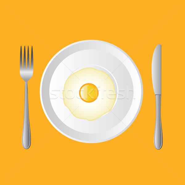 Tükörtojás fehér tányér kés villa tojás Stock fotó © glorcza