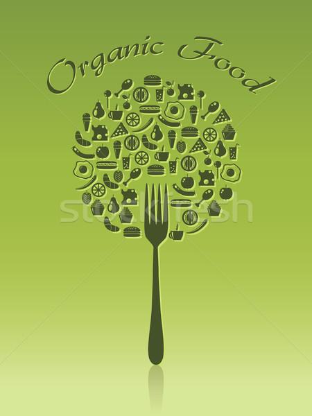 Alimentos orgánicos árbol alimentos café diseno torta Foto stock © glorcza
