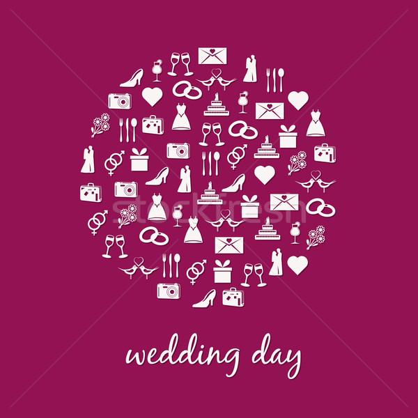Casamento ícone círculo homem coração casal Foto stock © glorcza