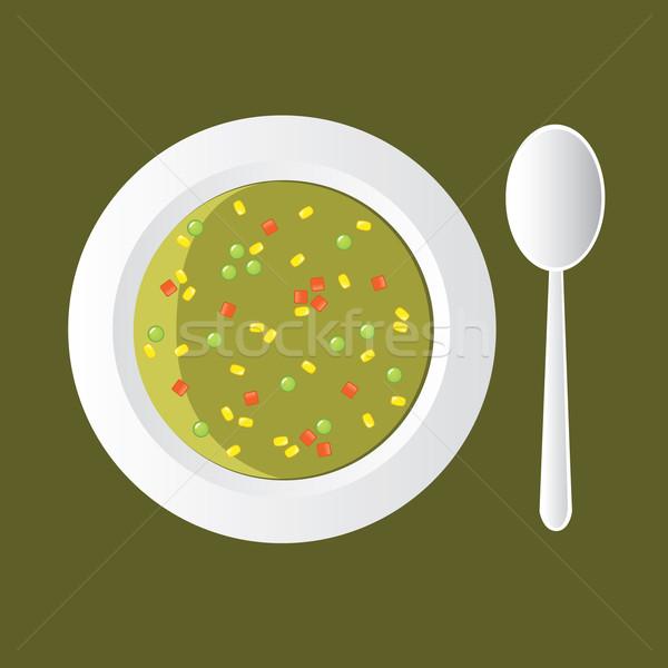 Zupa jarzynowa kukurydza marchew żywności restauracji obiedzie Zdjęcia stock © glorcza