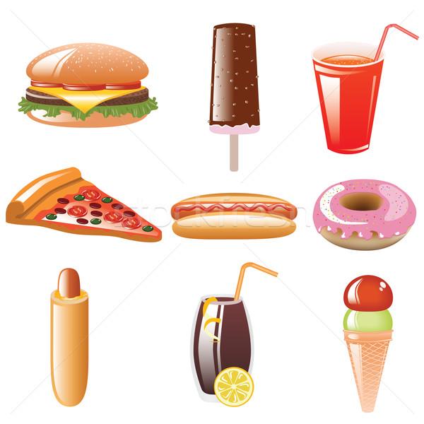 Ikon gyűjtemény webes ikon szett ételek italok kutya Stock fotó © glorcza
