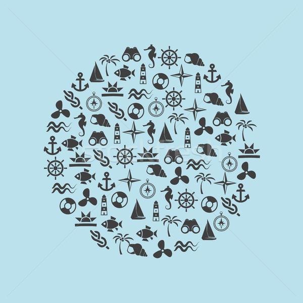 marine icons in circle Stock photo © glorcza