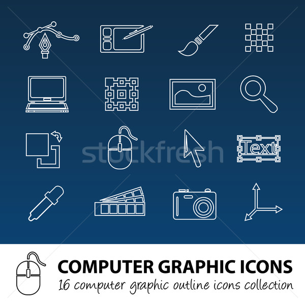 computer graphics outline icons Stock photo © glorcza