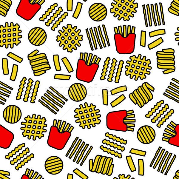 Fries ícones comida tecido papel de parede Foto stock © glorcza