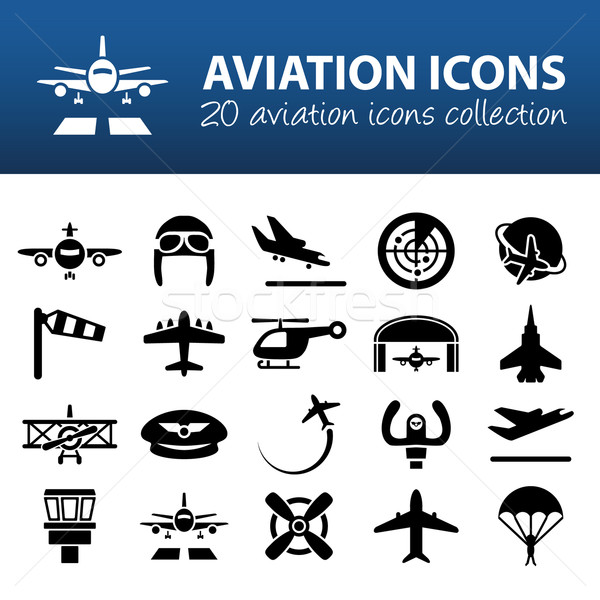aviation icons Stock photo © glorcza