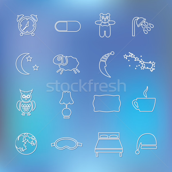 sleep outline icons Stock photo © glorcza