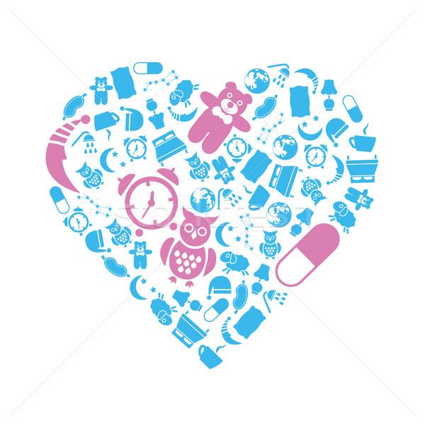 sleep icons in heart Stock photo © glorcza