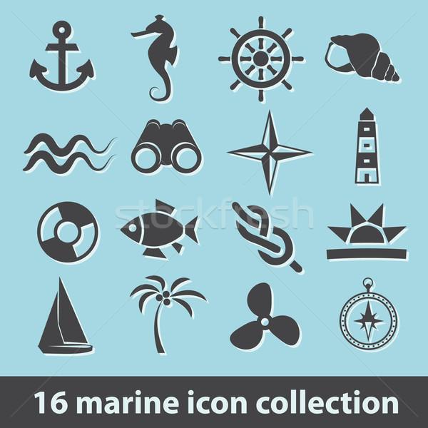 marine icons Stock photo © glorcza