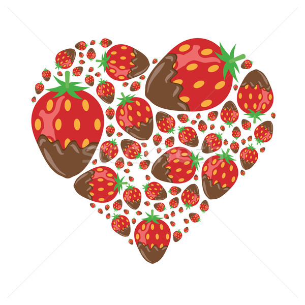 Fraises chocolat coeur alimentaire amour fruits Photo stock © glorcza