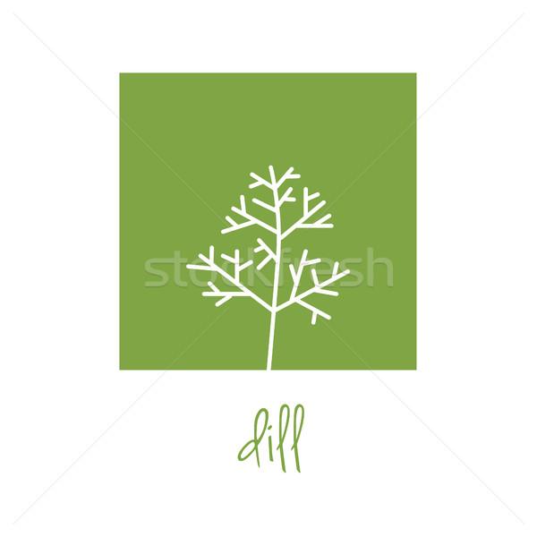 dill icon on green square Stock photo © glorcza