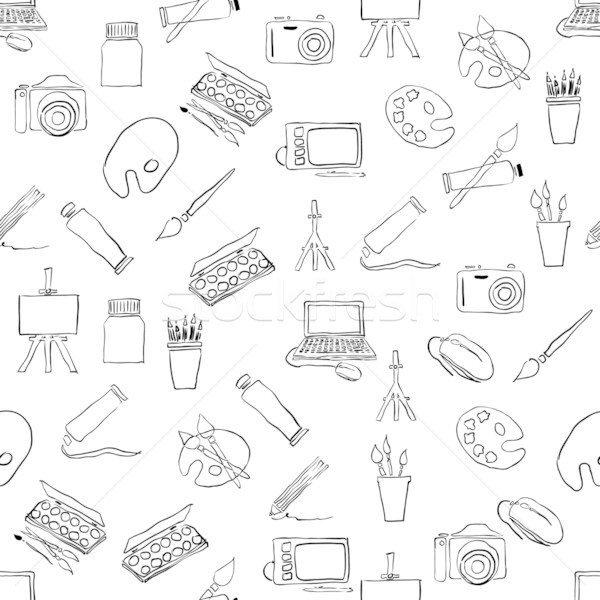 doodle seamless pattern with art pictures Stock photo © glorcza