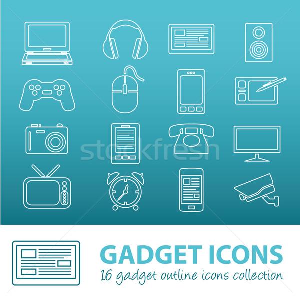 Szerkentyű skicc ikonok terv laptop információ Stock fotó © glorcza