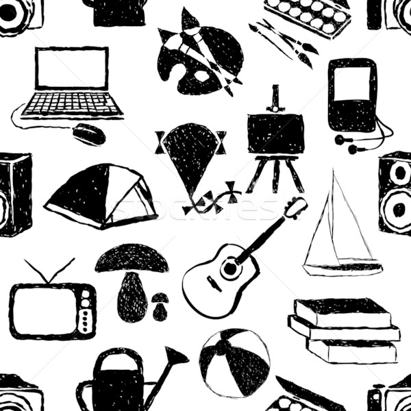 seamless doodle hobby pattern Stock photo © glorcza