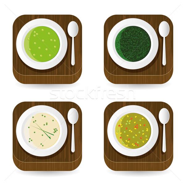 Sopa aplicação ícones madeira projeto tabela Foto stock © glorcza