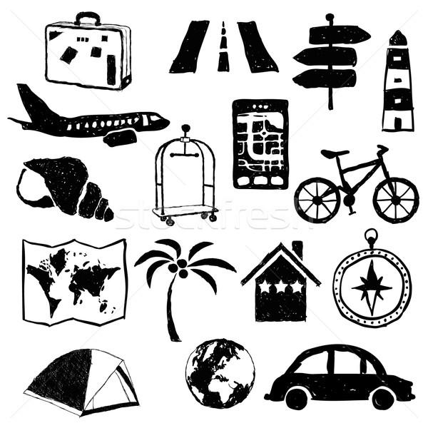 Reizen doodle weg wereldbol kaart Stockfoto © glorcza