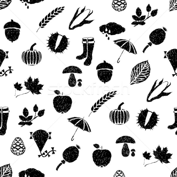 doodle autumn seamless pattern Stock photo © glorcza