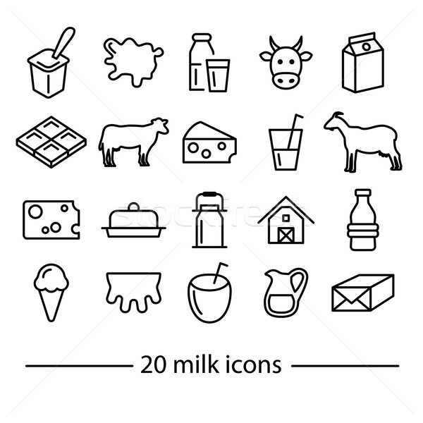 milk line icons Stock photo © glorcza