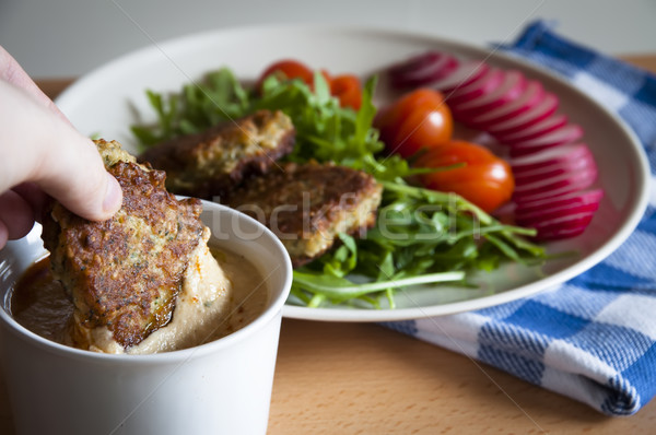 traditional turkish food - falafel with hummus and vegetable Stock photo © glorcza