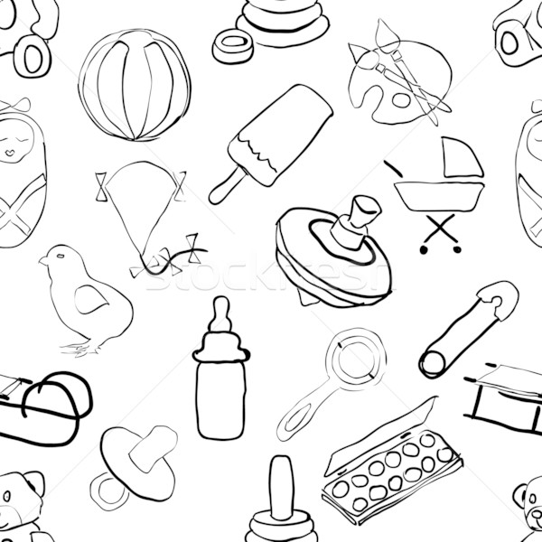 seamless doodle baby pattern Stock photo © glorcza