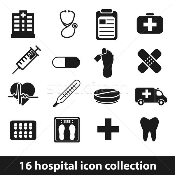 Kórház ikonok terv láb információ grafikus Stock fotó © glorcza