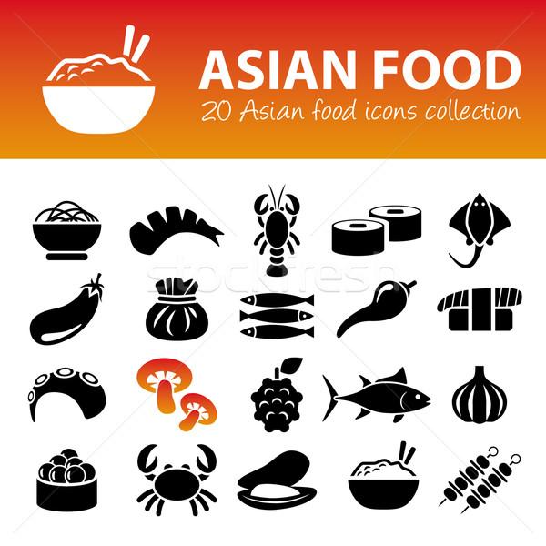 ázsiai konyha ikonok étel felirat rizs Ázsia Stock fotó © glorcza