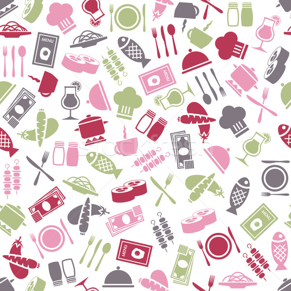 Stock photo: restaurant seamless pattern