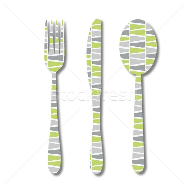 приборы шаблон аннотация дизайна ресторан зеленый Сток-фото © glorcza