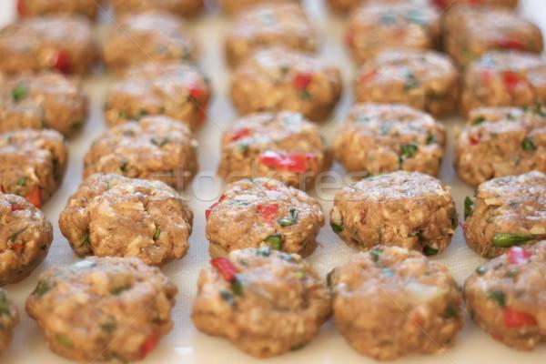 uncooked meatballs on white board Stock photo © glorcza