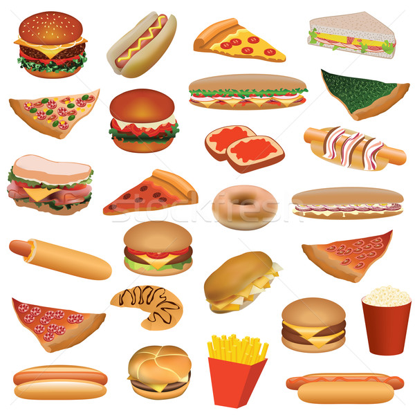 Stock photo: big fast food set