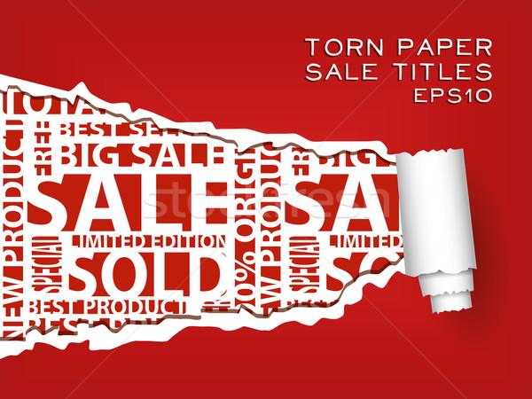 рваной бумаги красный продажи аннотация дизайна фон Сток-фото © glorcza