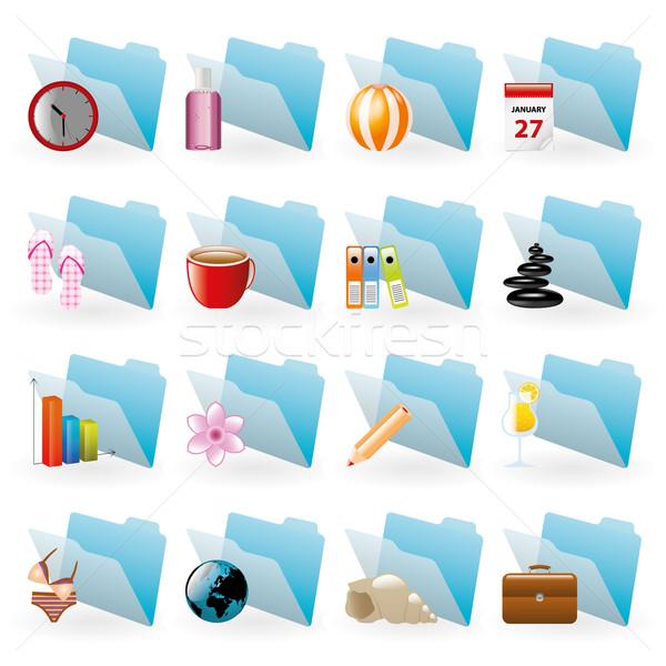 Mavi klasörler toplama simgeler bilgisayar Internet Stok fotoğraf © glorcza