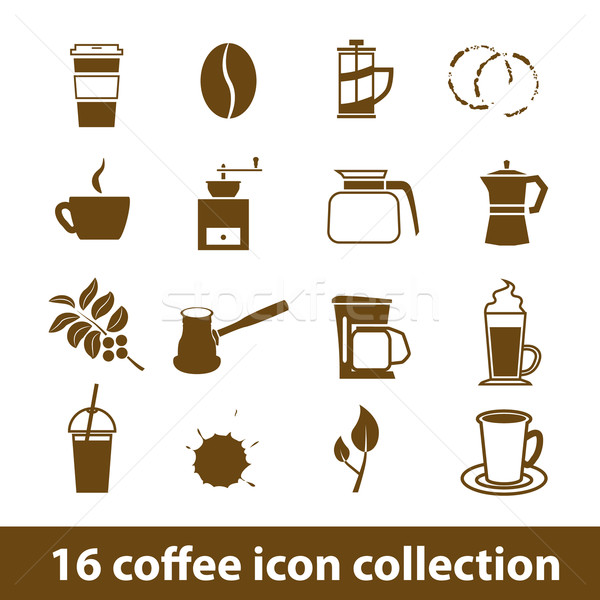 coffee icons Stock photo © glorcza