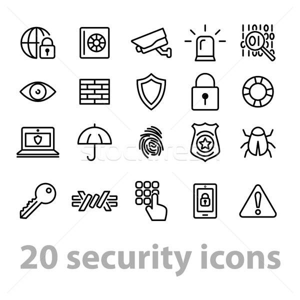 twenty security icons collection Stock photo © glorcza