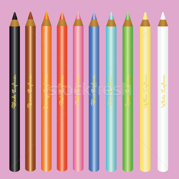 Cosmetica eyeliner ingesteld mode schoonheid oranje Stockfoto © glorcza