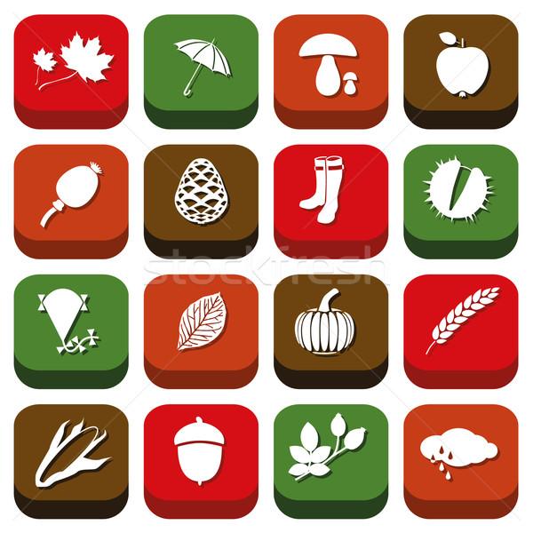 autumn icons Stock photo © glorcza