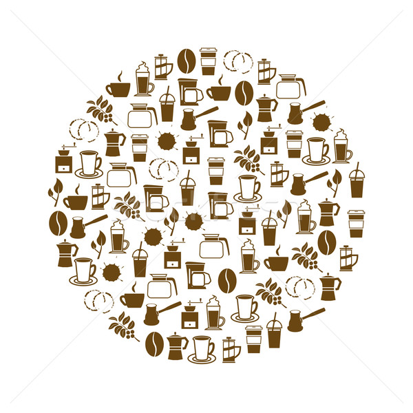 coffee icons in circle Stock photo © glorcza